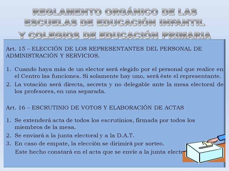 Art. 15 – ELECCIÓN DE LOS REPRESENTANTES DEL PERSONAL DE ADMINISTRACIÓN Y SERVICIOS. 1.Cuando haya más de un elector será elegido por el personal que
