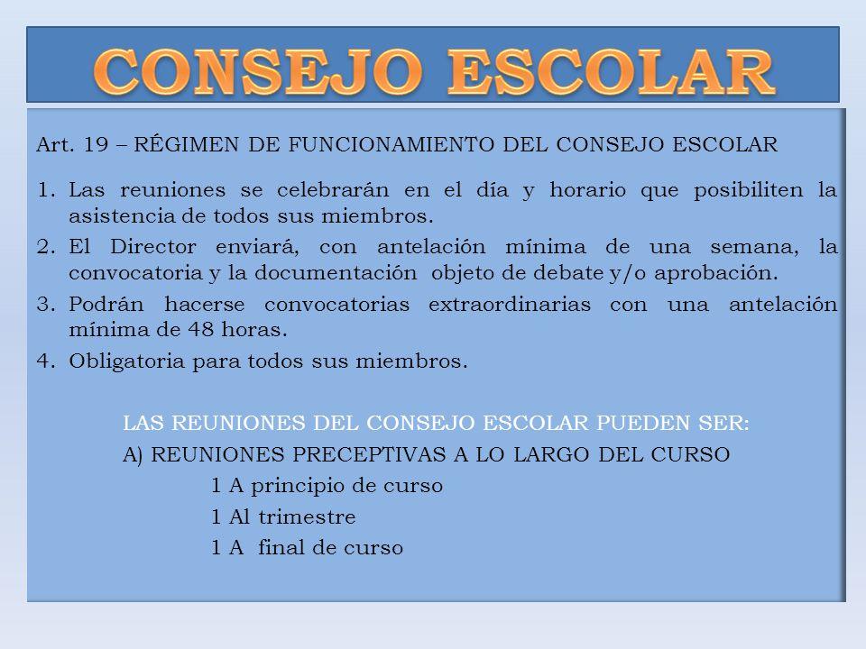 Art. 19 – RÉGIMEN DE FUNCIONAMIENTO DEL CONSEJO ESCOLAR 1.Las reuniones se celebrarán en el día y horario que posibiliten la asistencia de todos sus m