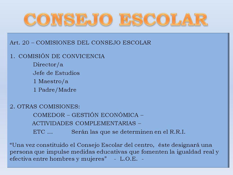 Art. 20 – COMISIONES DEL CONSEJO ESCOLAR 1.COMISIÓN DE CONVICENCIA Director/a Jefe de Estudios 1 Maestro/a 1 Padre/Madre 2. OTRAS COMISIONES: COMEDOR