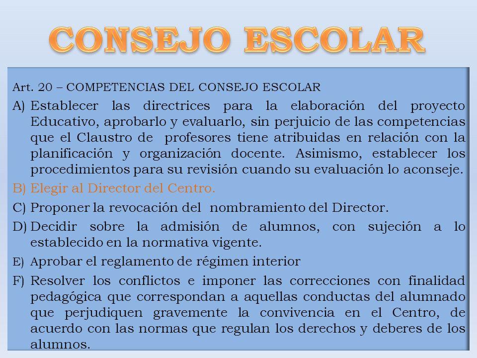 Art. 20 – COMPETENCIAS DEL CONSEJO ESCOLAR A)Establecer las directrices para la elaboración del proyecto Educativo, aprobarlo y evaluarlo, sin perjuic
