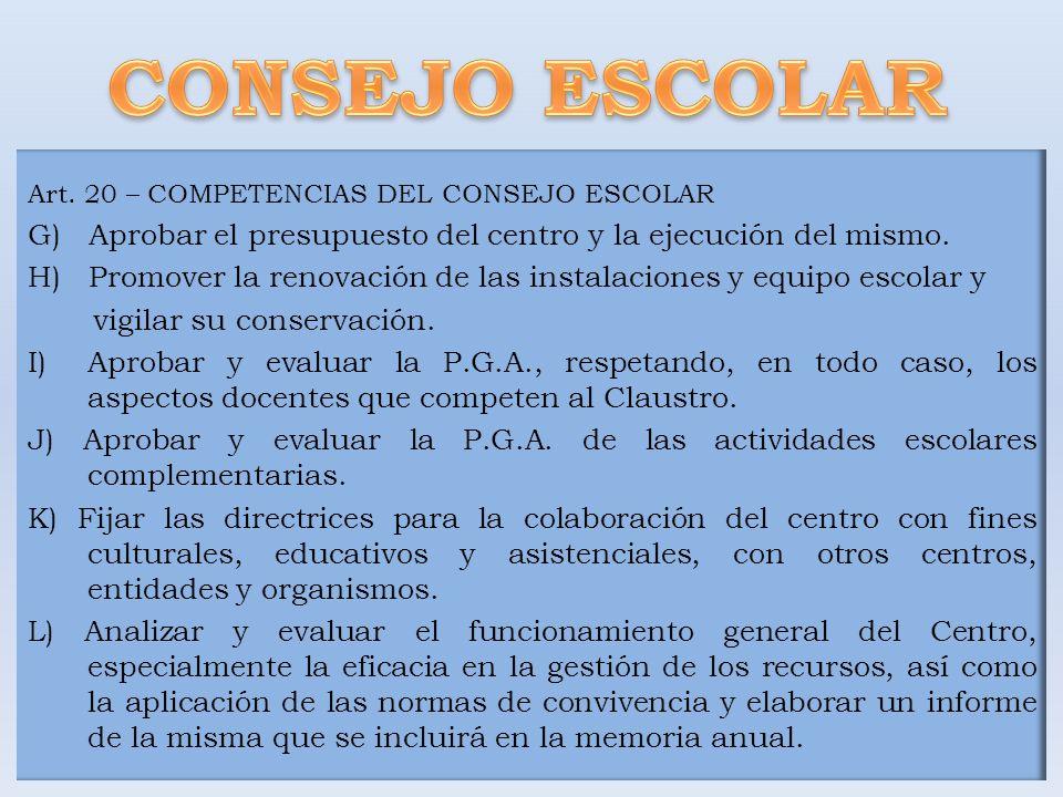 Art. 20 – COMPETENCIAS DEL CONSEJO ESCOLAR G) Aprobar el presupuesto del centro y la ejecución del mismo. H) Promover la renovación de las instalacion