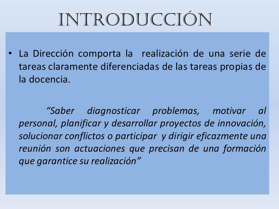INTRODUCCIÓN La Dirección comporta la realización de una serie de tareas claramente diferenciadas de las tareas propias de la docencia. Saber diagnost