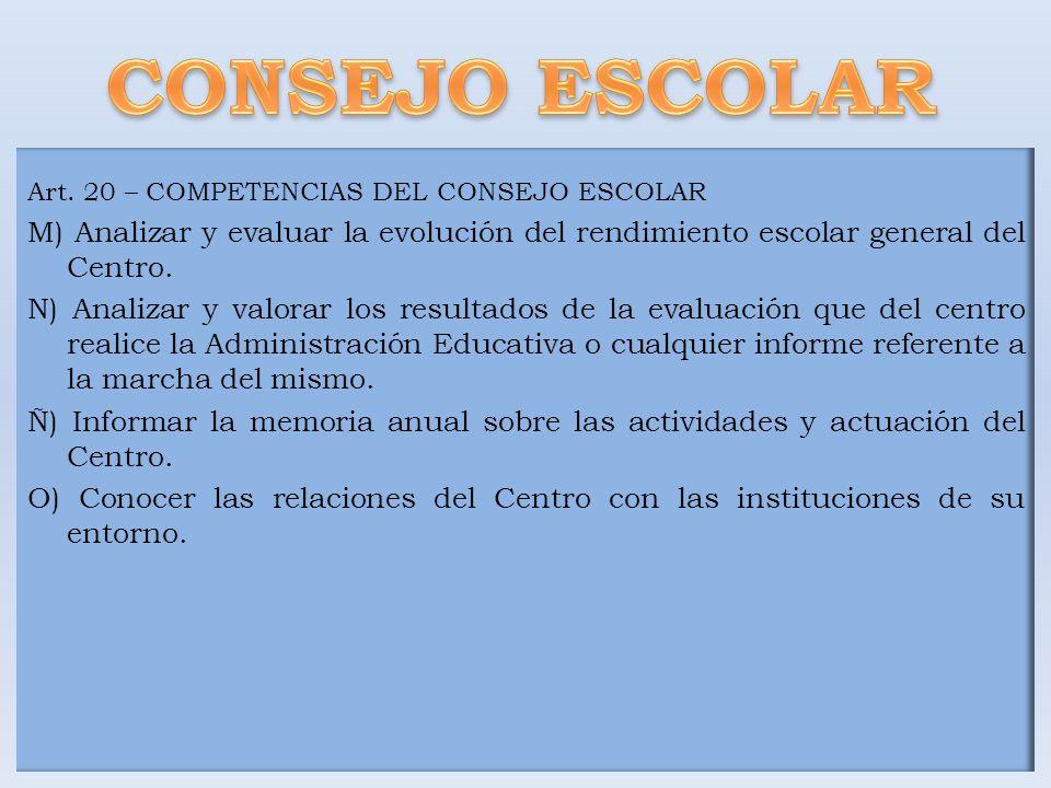Art. 20 – COMPETENCIAS DEL CONSEJO ESCOLAR M) Analizar y evaluar la evolución del rendimiento escolar general del Centro. N) Analizar y valorar los re
