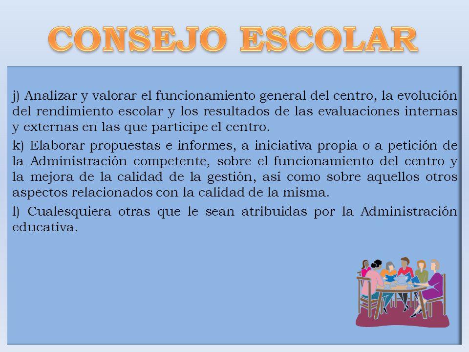 j) Analizar y valorar el funcionamiento general del centro, la evolución del rendimiento escolar y los resultados de las evaluaciones internas y exter