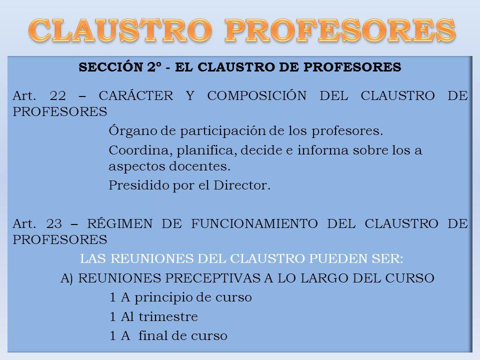 SECCIÓN 2º - EL CLAUSTRO DE PROFESORES Art. 22 – CARÁCTER Y COMPOSICIÓN DEL CLAUSTRO DE PROFESORES Órgano de participación de los profesores. Coordina
