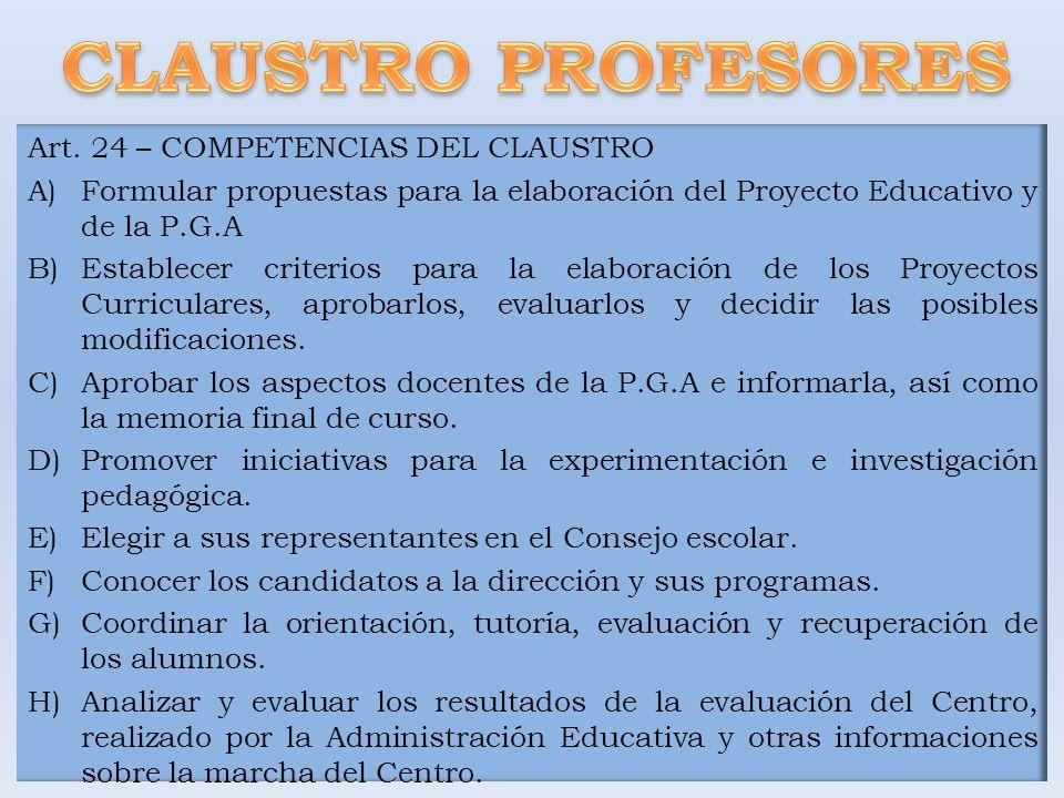 Art. 24 – COMPETENCIAS DEL CLAUSTRO A)Formular propuestas para la elaboración del Proyecto Educativo y de la P.G.A B)Establecer criterios para la elab