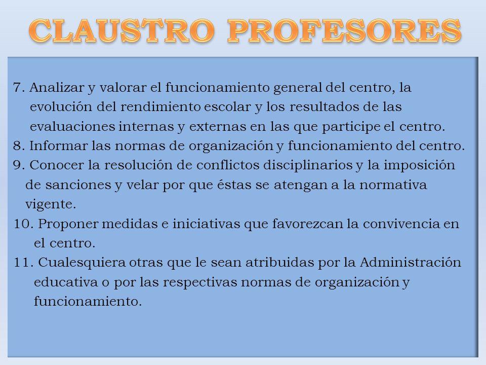 7. Analizar y valorar el funcionamiento general del centro, la evolución del rendimiento escolar y los resultados de las evaluaciones internas y exter