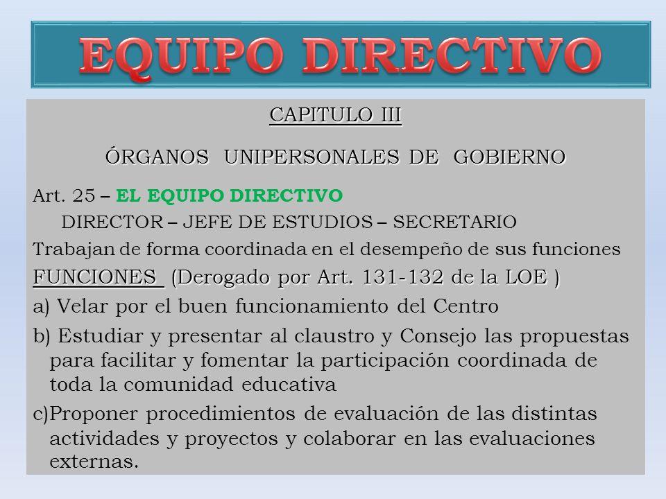 CAPITULO III ÓRGANOS UNIPERSONALES DE GOBIERNO Art. 25 – EL EQUIPO DIRECTIVO DIRECTOR – JEFE DE ESTUDIOS – SECRETARIO Trabajan de forma coordinada en