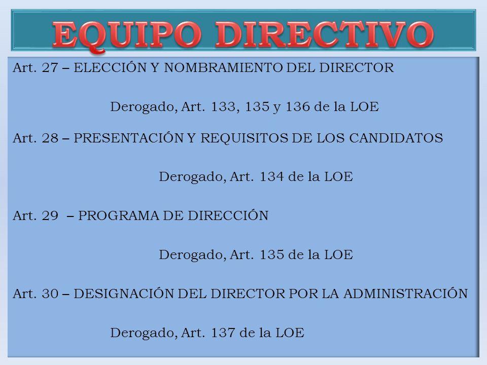 Art. 27 – ELECCIÓN Y NOMBRAMIENTO DEL DIRECTOR Derogado, Art. 133, 135 y 136 de la LOE Art. 28 – PRESENTACIÓN Y REQUISITOS DE LOS CANDIDATOS Derogado,