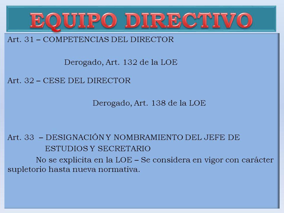 Art. 31 – COMPETENCIAS DEL DIRECTOR Derogado, Art. 132 de la LOE Art. 32 – CESE DEL DIRECTOR Derogado, Art. 138 de la LOE Art. 33 – DESIGNACIÓN Y NOMB
