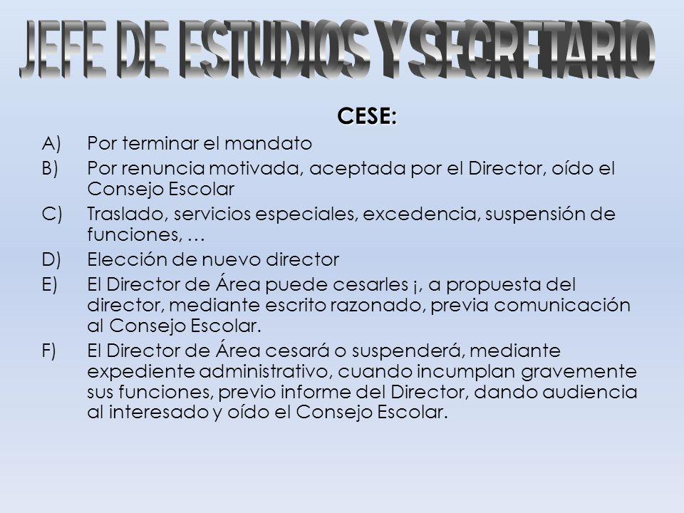 CESE: A)Por terminar el mandato B)Por renuncia motivada, aceptada por el Director, oído el Consejo Escolar C)Traslado, servicios especiales, excedenci