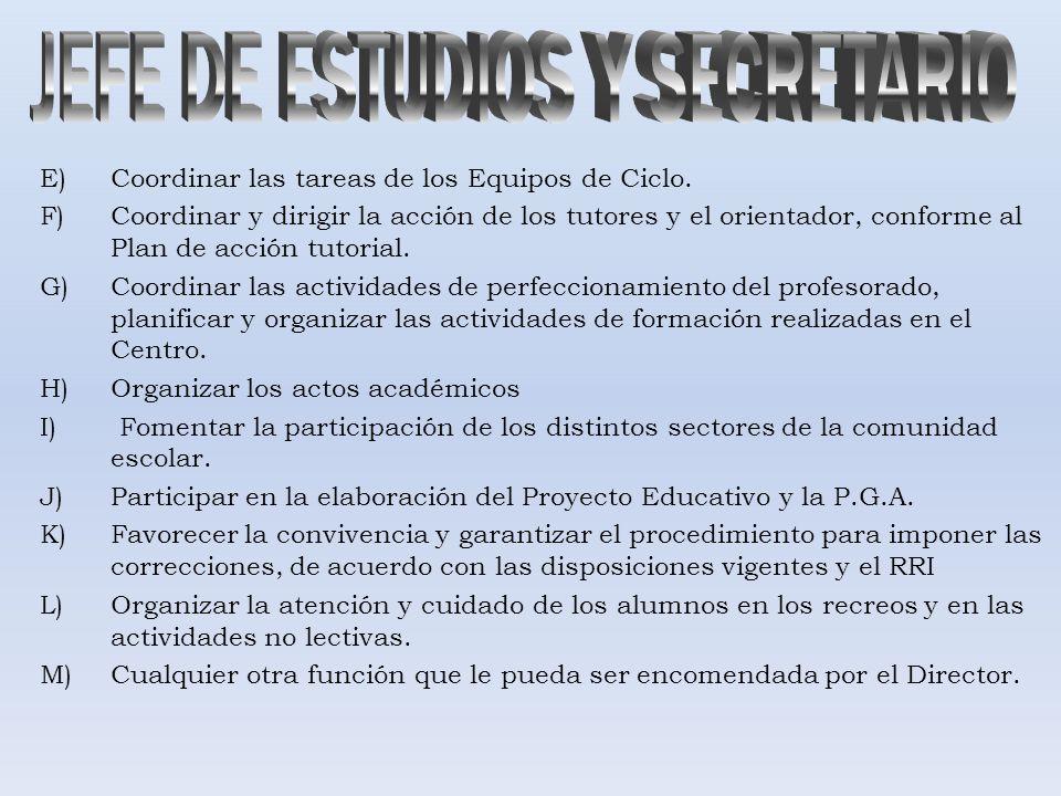 E)Coordinar las tareas de los Equipos de Ciclo. F)Coordinar y dirigir la acción de los tutores y el orientador, conforme al Plan de acción tutorial. G