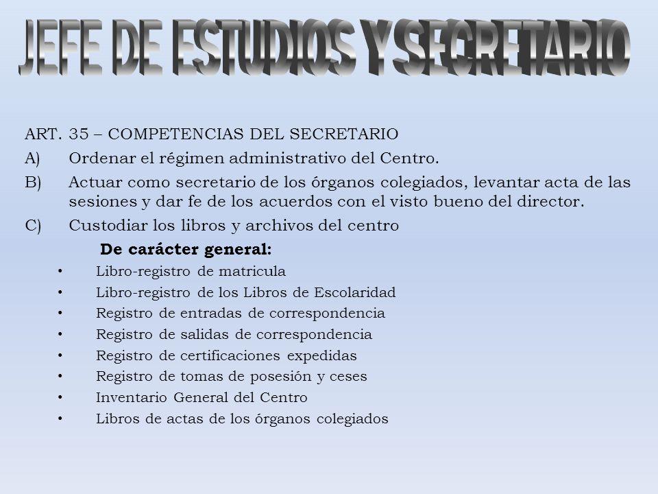 ART. 35 – COMPETENCIAS DEL SECRETARIO A)Ordenar el régimen administrativo del Centro. B)Actuar como secretario de los órganos colegiados, levantar act