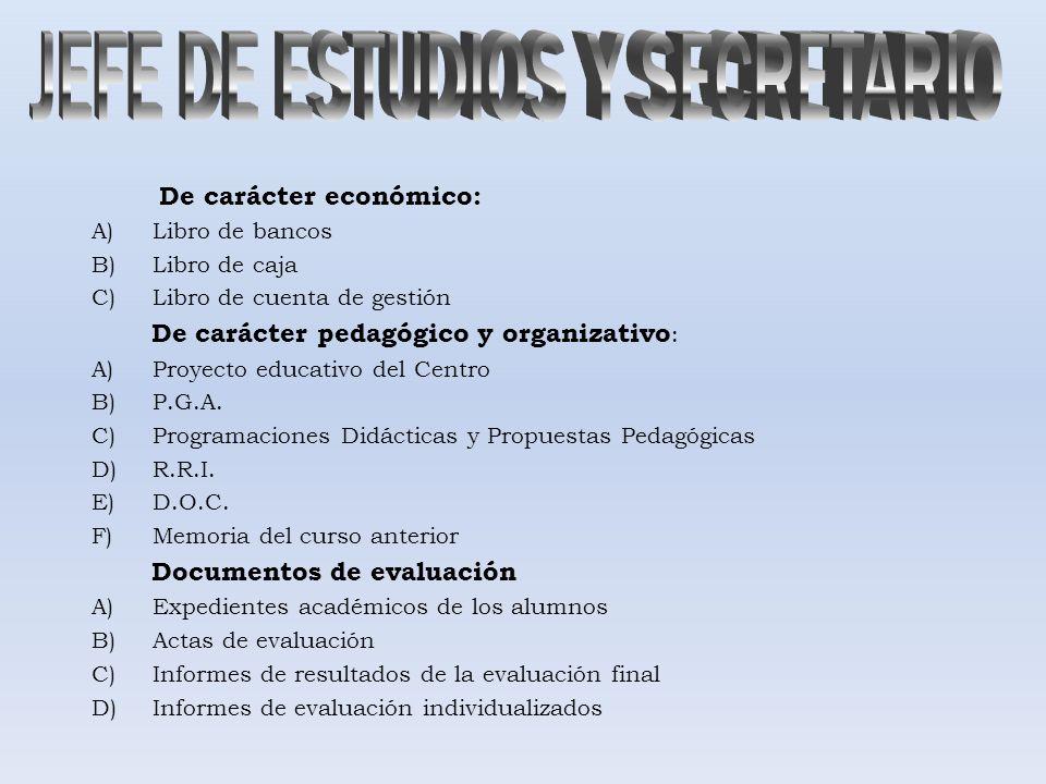 De carácter económico: A)Libro de bancos B)Libro de caja C)Libro de cuenta de gestión De carácter pedagógico y organizativo : A)Proyecto educativo del