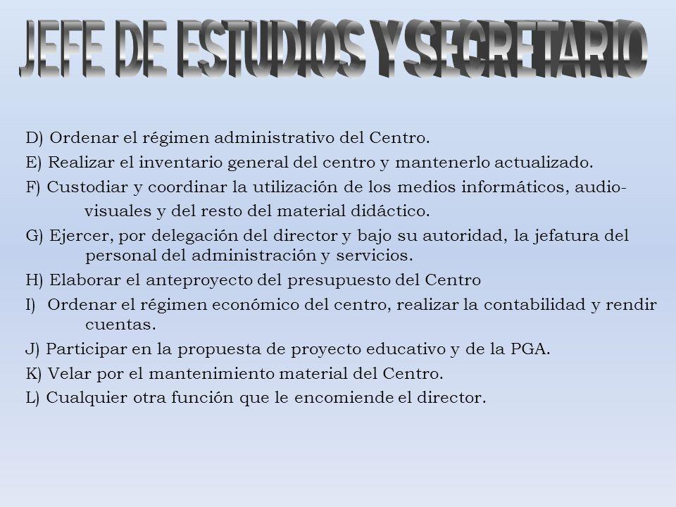 D) Ordenar el régimen administrativo del Centro. E) Realizar el inventario general del centro y mantenerlo actualizado. F) Custodiar y coordinar la ut