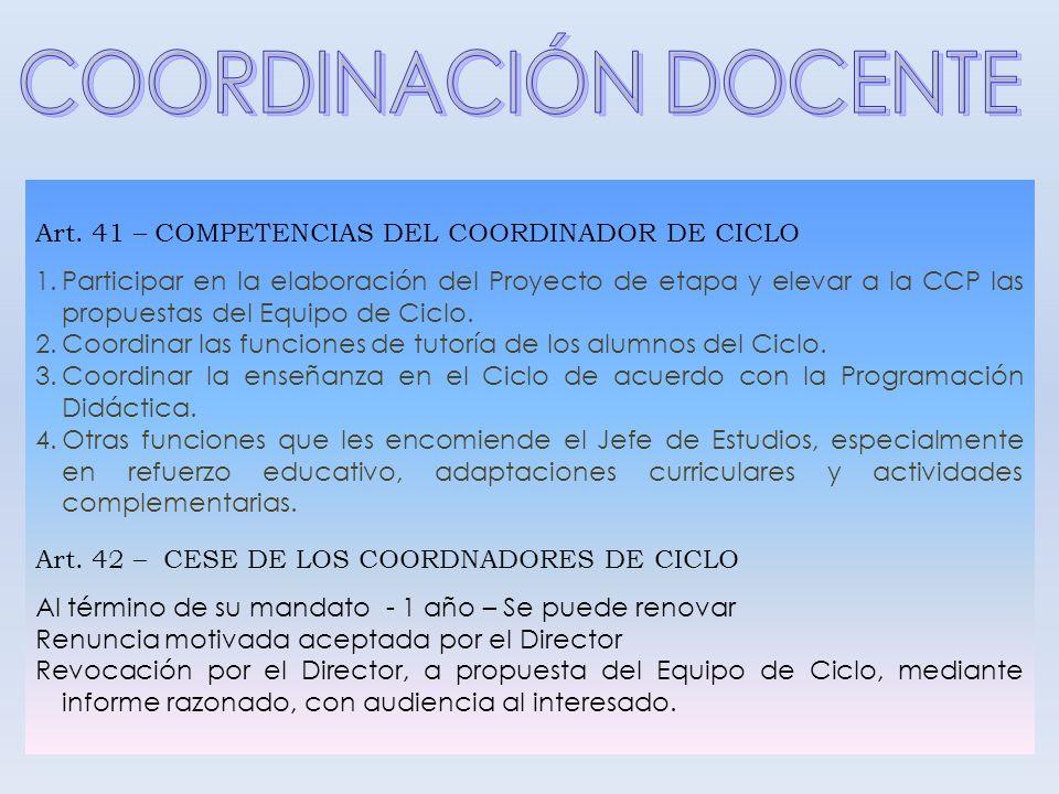 Art. 41 – COMPETENCIAS DEL COORDINADOR DE CICLO 1.Participar en la elaboración del Proyecto de etapa y elevar a la CCP las propuestas del Equipo de Ci