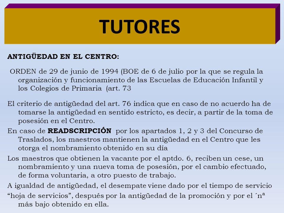 TUTORES ANTIGÜEDAD EN EL CENTRO: ORDEN de 29 de junio de 1994 (BOE de 6 de julio por la que se regula la organización y funcionamiento de las Escuelas
