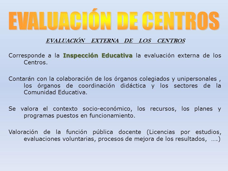 EVALUACIÓN EXTERNA DE LOS CENTROS Inspección Educativa Corresponde a la Inspección Educativa la evaluación externa de los Centros. Contarán con la col