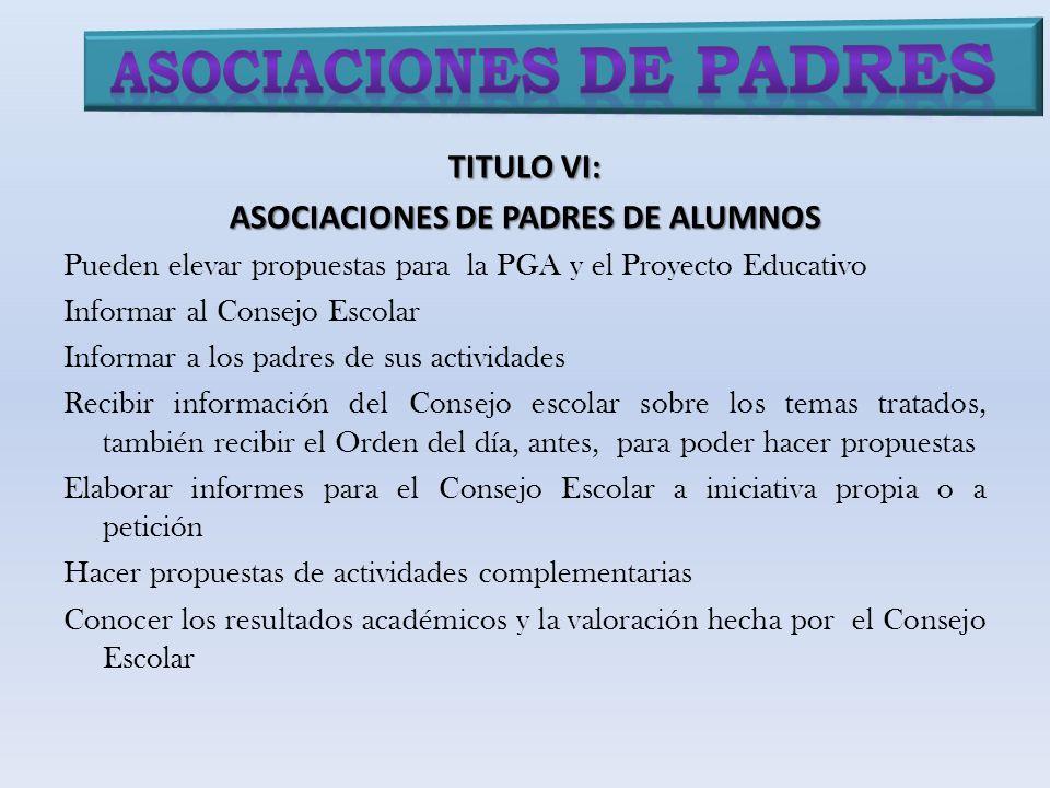 TITULO VI: ASOCIACIONES DE PADRES DE ALUMNOS Pueden elevar propuestas para la PGA y el Proyecto Educativo Informar al Consejo Escolar Informar a los p