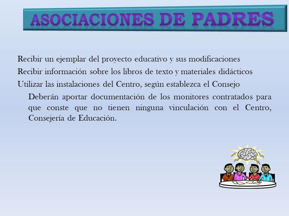 Recibir un ejemplar del proyecto educativo y sus modificaciones Recibir información sobre los libros de texto y materiales didácticos Utilizar las ins