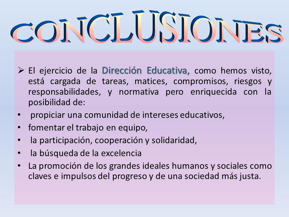 Dirección Educativa, El ejercicio de la Dirección Educativa, como hemos visto, está cargada de tareas, matices, compromisos, riesgos y responsabilidad