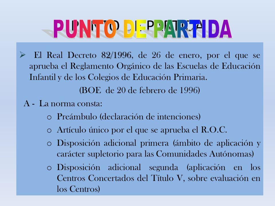 PUNTO DE PARTIDA 82/1996 El Real Decreto 82/1996, de 26 de enero, por el que se aprueba el Reglamento Orgánico de las Escuelas de Educación Infantil y