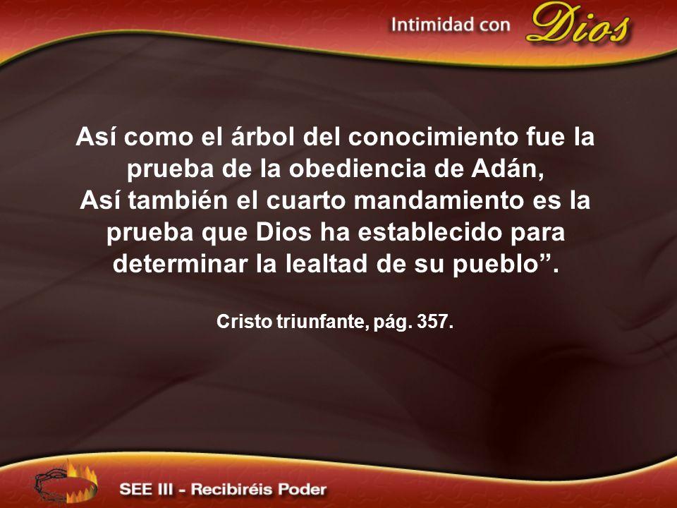 Así como el árbol del conocimiento fue la prueba de la obediencia de Adán, Así también el cuarto mandamiento es la prueba que Dios ha establecido para