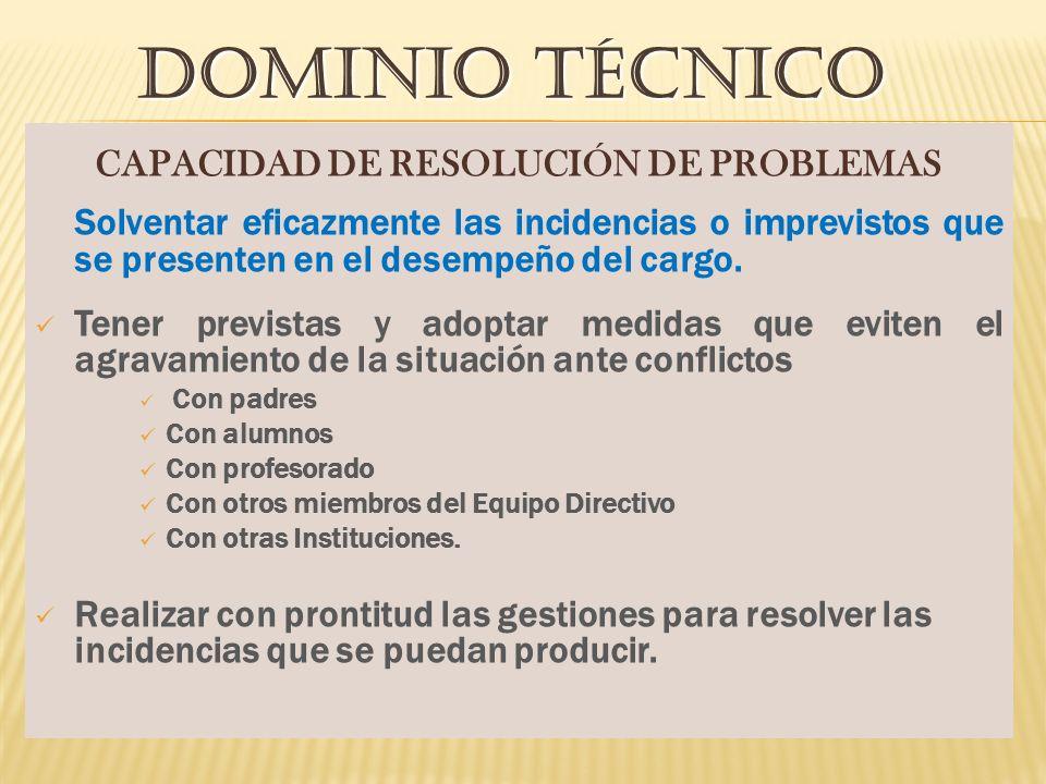 CAPACIDAD DE RESOLUCIÓN DE PROBLEMAS Solventar eficazmente las incidencias o imprevistos que se presenten en el desempeño del cargo.