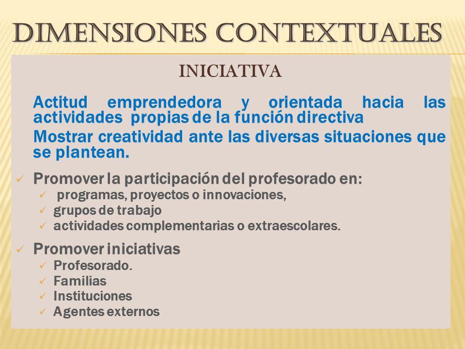 DIMENSIONES CONTEXTUALES INICIATIVA Actitud emprendedora y orientada hacia las actividades propias de la función directiva Mostrar creatividad ante las diversas situaciones que se plantean.