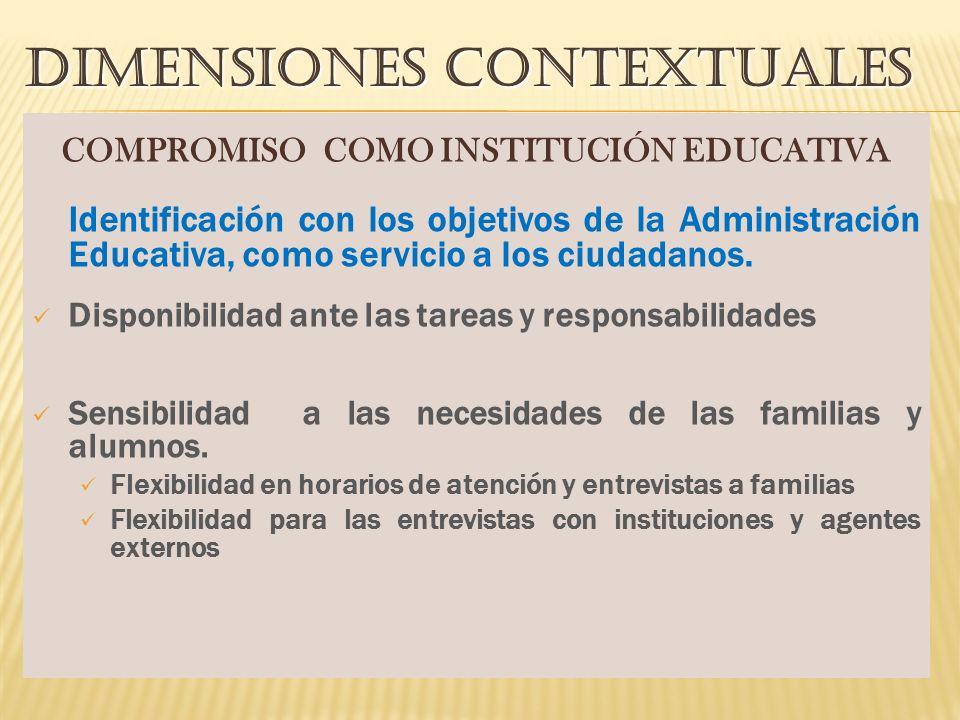 DIMENSIONES CONTEXTUALES COMPROMISO COMO INSTITUCIÓN EDUCATIVA Identificación con los objetivos de la Administración Educativa, como servicio a los ciudadanos.
