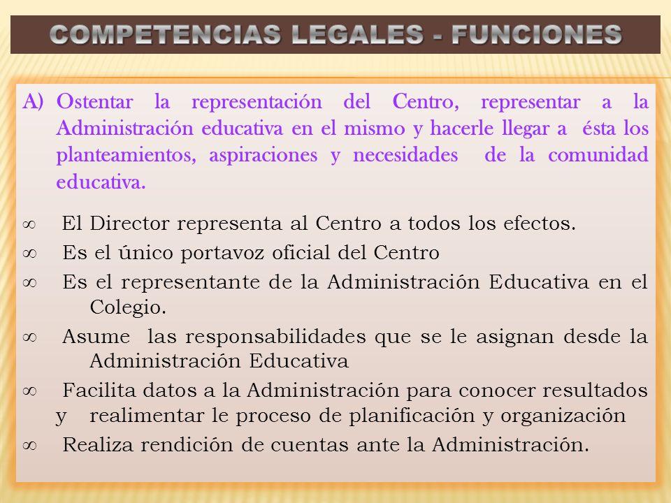 A)Ostentar la representación del Centro, representar a la Administración educativa en el mismo y hacerle llegar a ésta los planteamientos, aspiraciones y necesidades de la comunidad educativa.