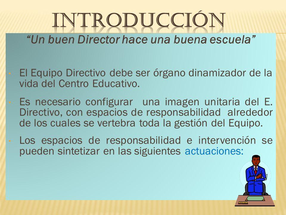 Un buen Director hace una buena escuela El Equipo Directivo debe ser órgano dinamizador de la vida del Centro Educativo.