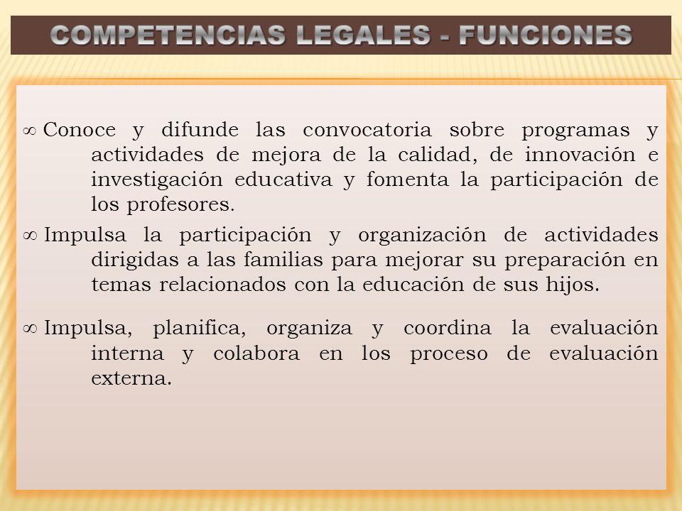 Conoce y difunde las convocatoria sobre programas y actividades de mejora de la calidad, de innovación e investigación educativa y fomenta la participación de los profesores.
