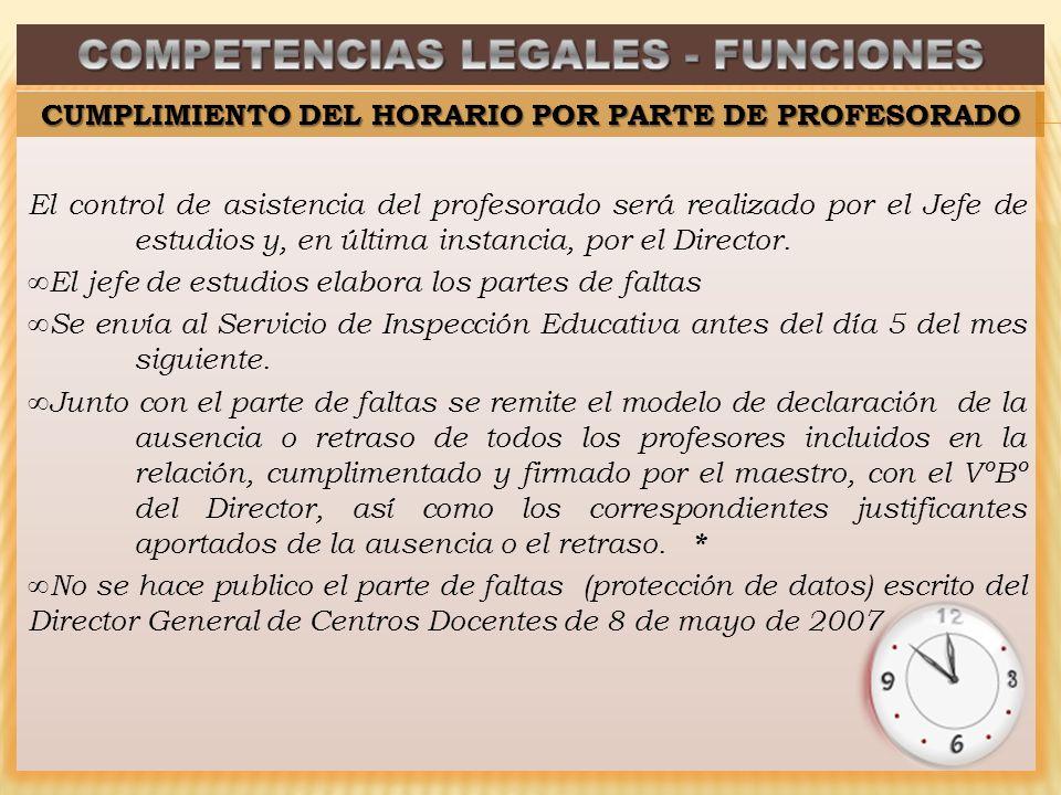 El control de asistencia del profesorado será realizado por el Jefe de estudios y, en última instancia, por el Director.