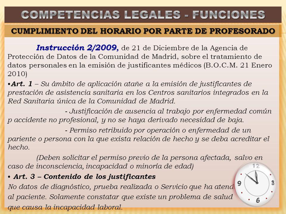 Instrucción 2/2009, Instrucción 2/2009, de 21 de Diciembre de la Agencia de Protección de Datos de la Comunidad de Madrid, sobre el tratamiento de datos personales en la emisión de justificantes médicos (B.O.C.M.