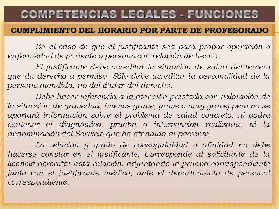 En el caso de que el justificante sea para probar operación o enfermedad de pariente o persona con relación de hecho.