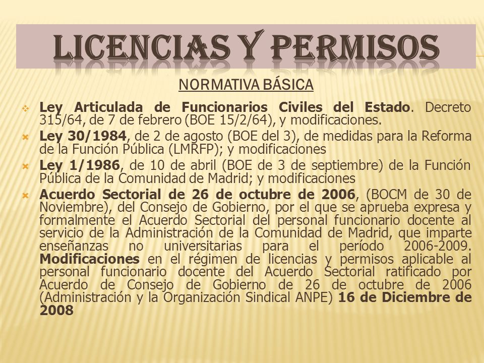 NORMATIVA BÁSICA Ley Articulada de Funcionarios Civiles del Estado.