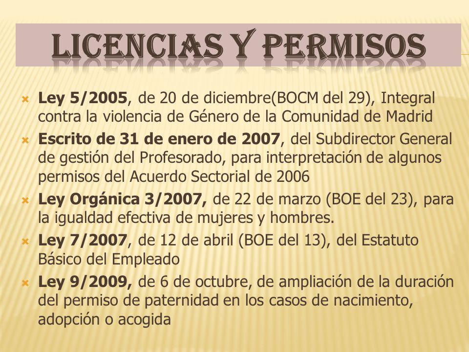 Ley 5/2005, de 20 de diciembre(BOCM del 29), Integral contra la violencia de Género de la Comunidad de Madrid Escrito de 31 de enero de 2007, del Subdirector General de gestión del Profesorado, para interpretación de algunos permisos del Acuerdo Sectorial de 2006 Ley Orgánica 3/2007, de 22 de marzo (BOE del 23), para la igualdad efectiva de mujeres y hombres.