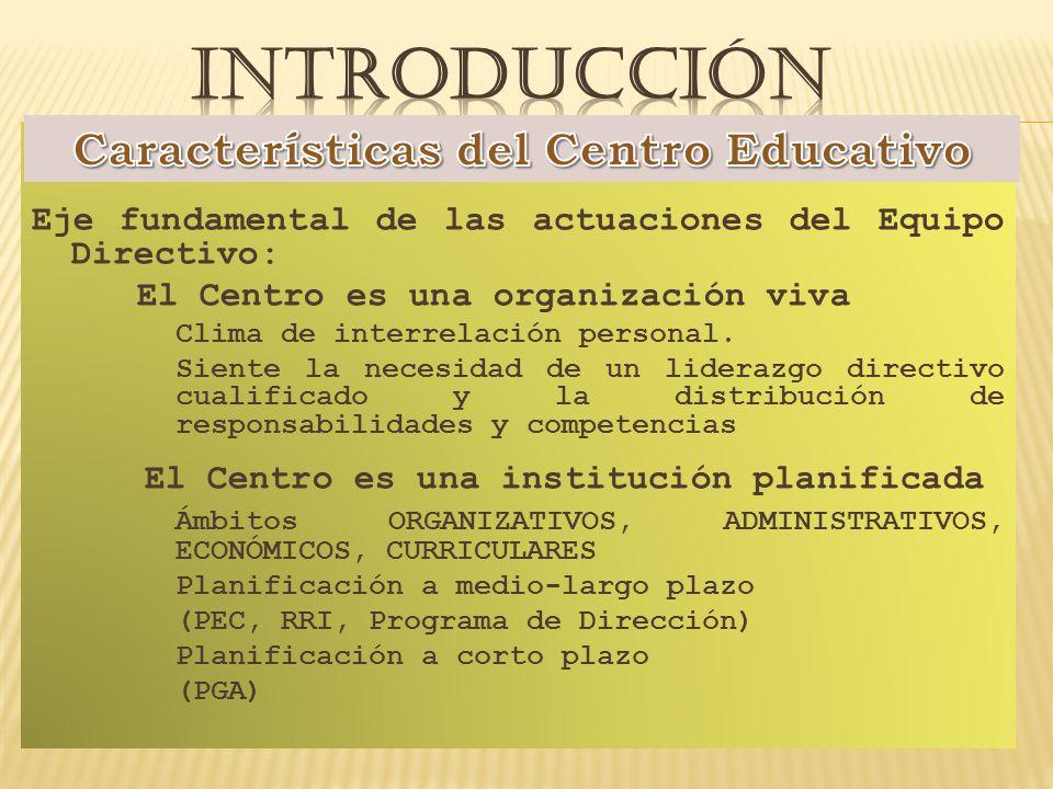 Eje fundamental de las actuaciones del Equipo Directivo: El Centro es una organización viva Clima de interrelación personal.