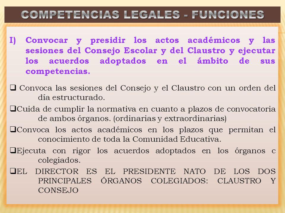 I)Convocar y presidir los actos académicos y las sesiones del Consejo Escolar y del Claustro y ejecutar los acuerdos adoptados en el ámbito de sus competencias.