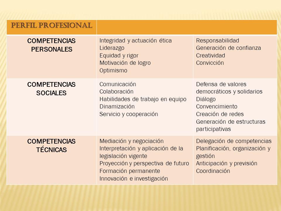 PERFIL PROFESIONAL COMPETENCIAS PERSONALES Integridad y actuación ética Liderazgo Equidad y rigor Motivación de logro Optimismo Responsabilidad Generación de confianza Creatividad Convicción COMPETENCIAS SOCIALES Comunicación Colaboración Habilidades de trabajo en equipo Dinamización Servicio y cooperación Defensa de valores democráticos y solidarios Diálogo Convencimiento Creación de redes Generación de estructuras participativas COMPETENCIAS TÉCNICAS Mediación y negociación Interpretación y aplicación de la legislación vigente Proyección y perspectiva de futuro Formación permanente Innovación e investigación Delegación de competencias Planificación, organización y gestión Anticipación y previsión Coordinación