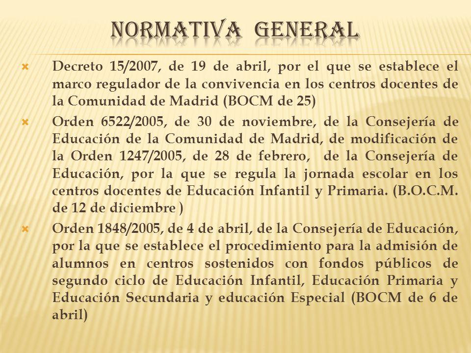 Decreto 15/2007, de 19 de abril, por el que se establece el marco regulador de la convivencia en los centros docentes de la Comunidad de Madrid (BOCM de 25) Orden 6522/2005, de 30 de noviembre, de la Consejería de Educación de la Comunidad de Madrid, de modificación de la Orden 1247/2005, de 28 de febrero, de la Consejería de Educación, por la que se regula la jornada escolar en los centros docentes de Educación Infantil y Primaria.