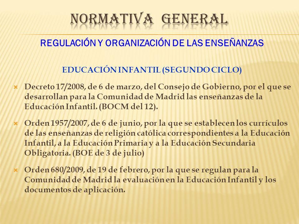 REGULACIÓN Y ORGANIZACIÓN DE LAS ENSEÑANZAS EDUCACIÓN INFANTIL (SEGUNDO CICLO) Decreto 17/2008, de 6 de marzo, del Consejo de Gobierno, por el que se desarrollan para la Comunidad de Madrid las enseñanzas de la Educación Infantil.