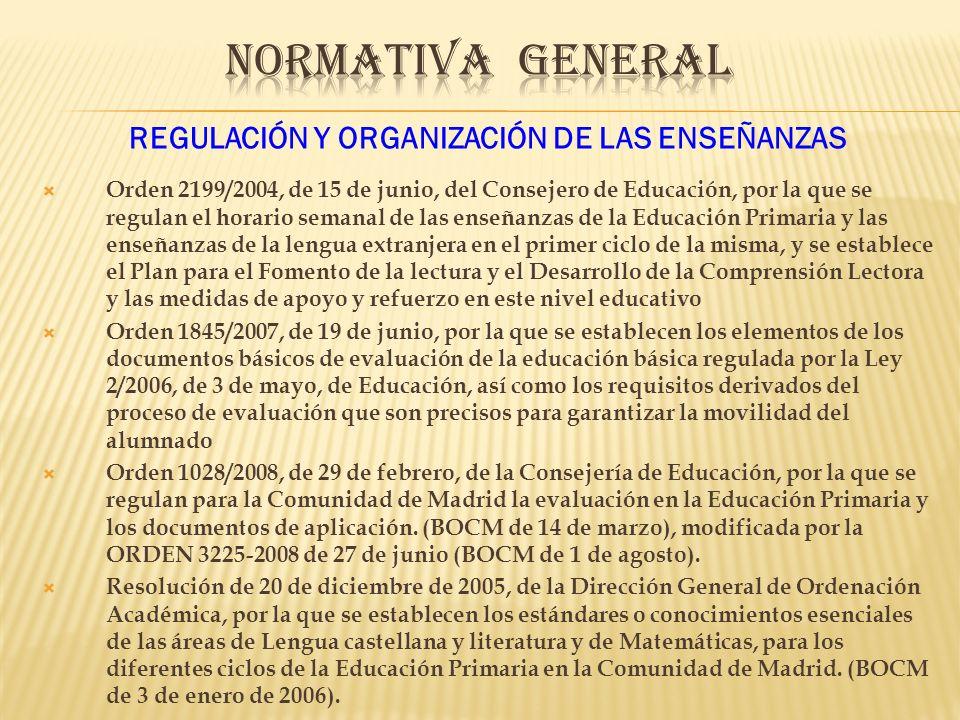 REGULACIÓN Y ORGANIZACIÓN DE LAS ENSEÑANZAS Orden 2199/2004, de 15 de junio, del Consejero de Educación, por la que se regulan el horario semanal de las enseñanzas de la Educación Primaria y las enseñanzas de la lengua extranjera en el primer ciclo de la misma, y se establece el Plan para el Fomento de la lectura y el Desarrollo de la Comprensión Lectora y las medidas de apoyo y refuerzo en este nivel educativo Orden 1845/2007, de 19 de junio, por la que se establecen los elementos de los documentos básicos de evaluación de la educación básica regulada por la Ley 2/2006, de 3 de mayo, de Educación, así como los requisitos derivados del proceso de evaluación que son precisos para garantizar la movilidad del alumnado Orden 1028/2008, de 29 de febrero, de la Consejería de Educación, por la que se regulan para la Comunidad de Madrid la evaluación en la Educación Primaria y los documentos de aplicación.
