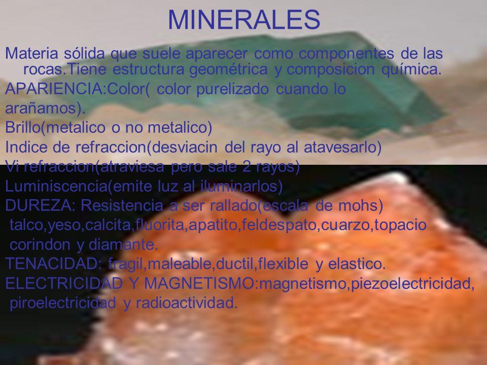 MINERALES Materia sólida que suele aparecer como componentes de las rocas.Tiene estructura geométrica y composicion química. APARIENCIA:Color( color p