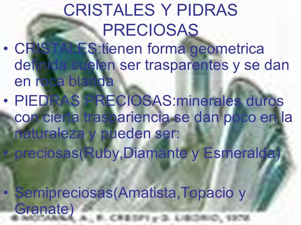 CRISTALES Y PIDRAS PRECIOSAS CRISTALES:tienen forma geometrica definida suelen ser trasparentes y se dan en roca blanda PIEDRAS PRECIOSAS:minerales du