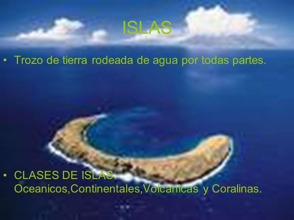 ISLAS Trozo de tierra rodeada de agua por todas partes. CLASES DE ISLAS: Oceanicos,Continentales,Volcanicas y Coralinas.