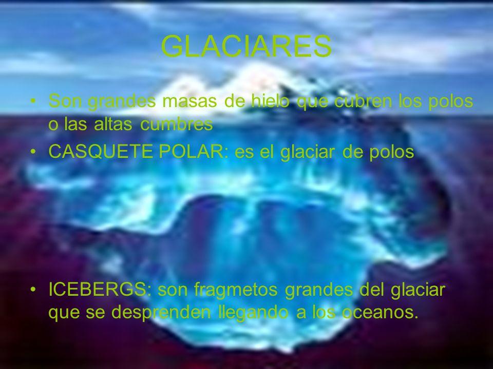 GLACIARES Son grandes masas de hielo que cubren los polos o las altas cumbres CASQUETE POLAR: es el glaciar de polos ICEBERGS: son fragmetos grandes d