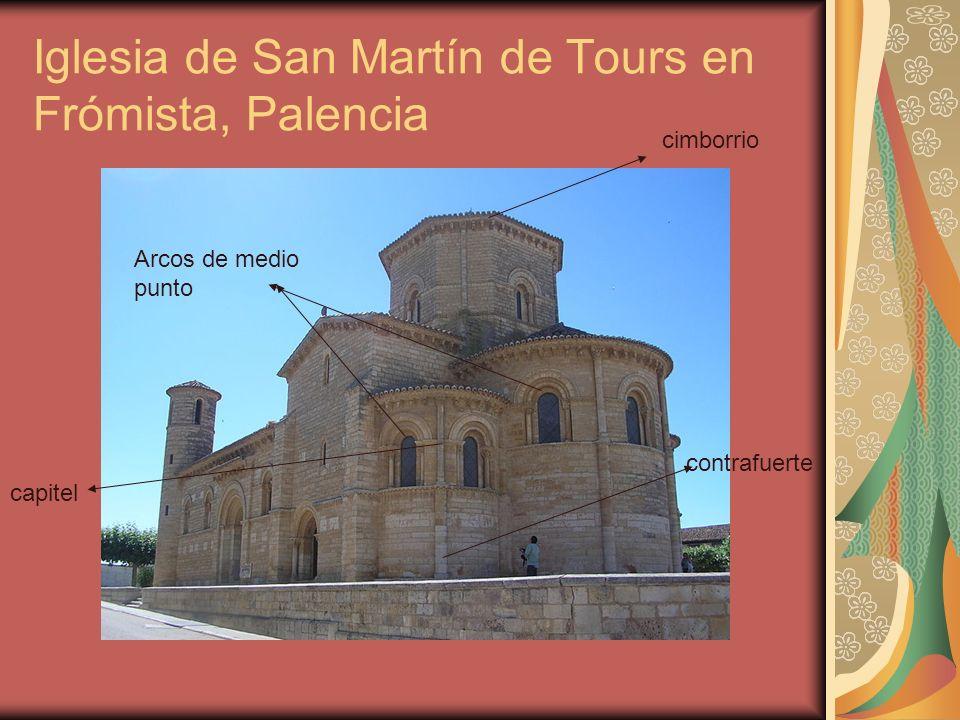 Iglesia de San Martín de Tours en Frómista, Palencia cimborrio Arcos de medio punto contrafuerte capitel