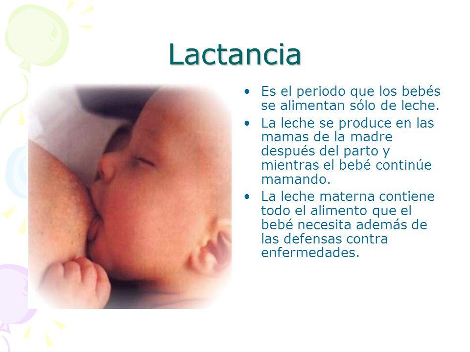 Lactancia Es el periodo que los bebés se alimentan sólo de leche.
